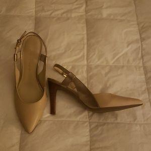 Franco Sarto gold and beige pumps